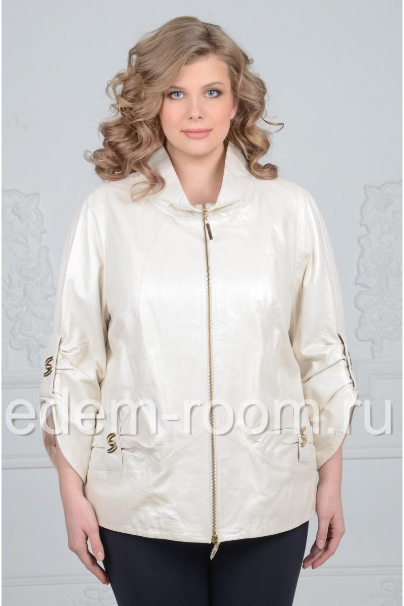 Белая кожаная куртка для больших размеров