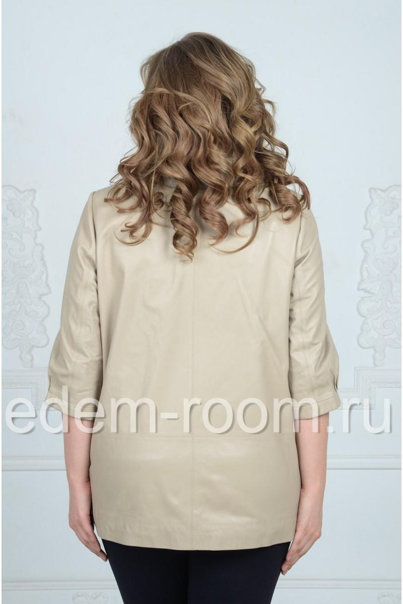 Кожаная куртка с капюшоном для больших размеров