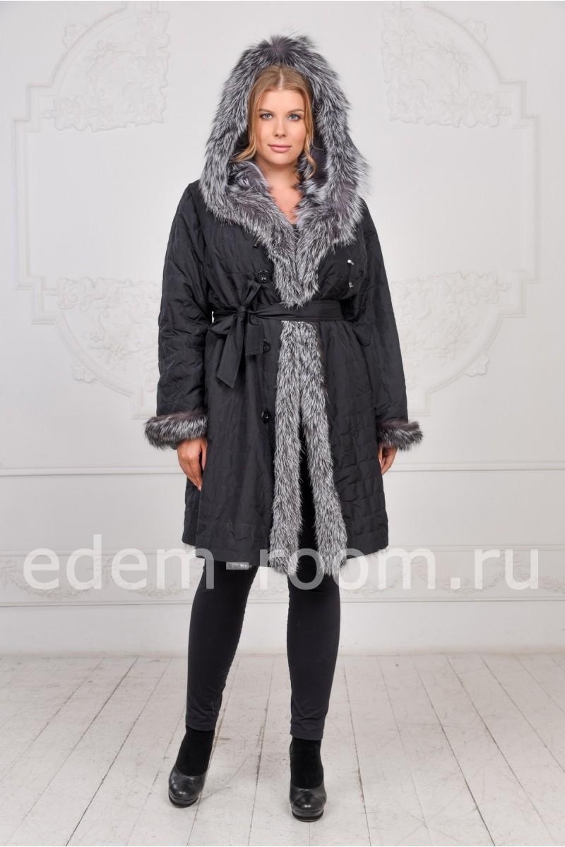 Демисезонное меховое пальто