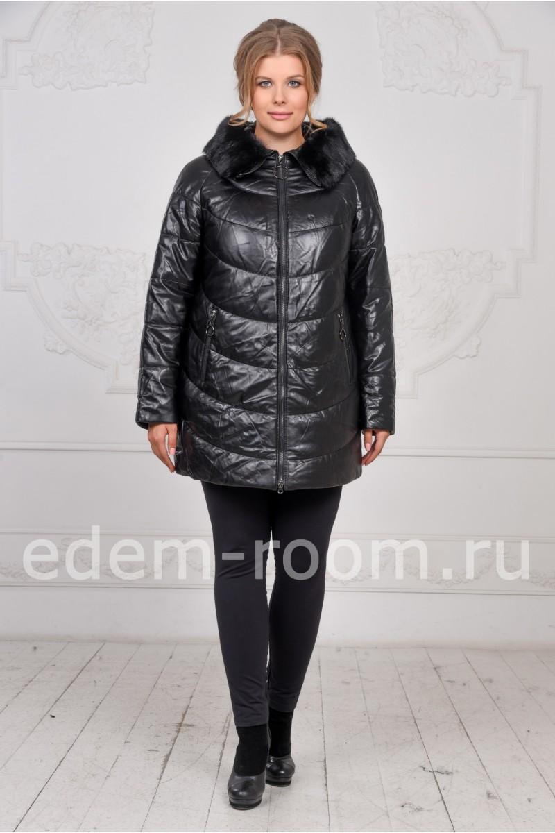 Зимняя кожаная куртка с меховым воротником