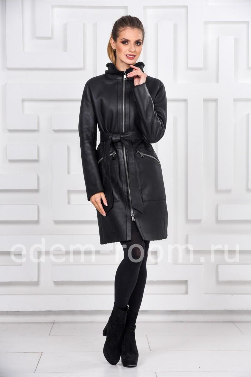 Модная женская дублёнка с покрытием силка