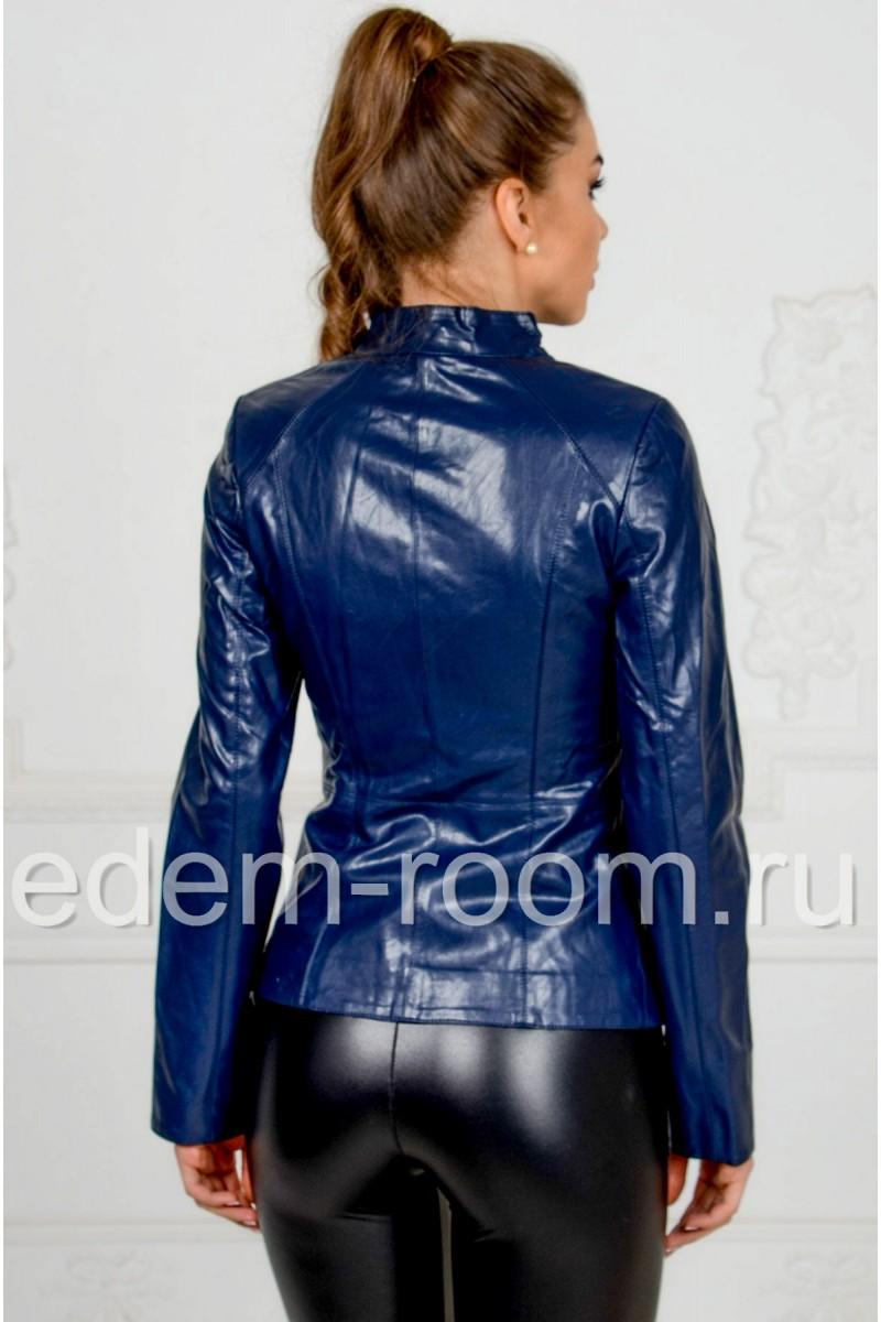 Синяя куртка из эко-кожи