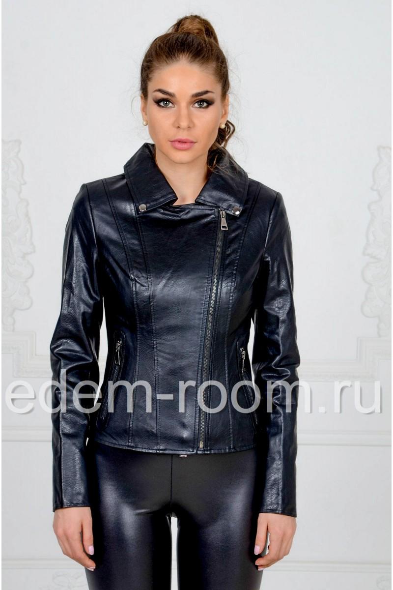 Чёрная куртка из эко-кожи