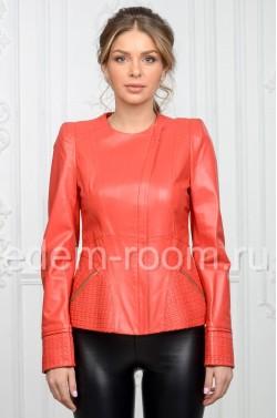 Коралловая куртка из натуральной кожи