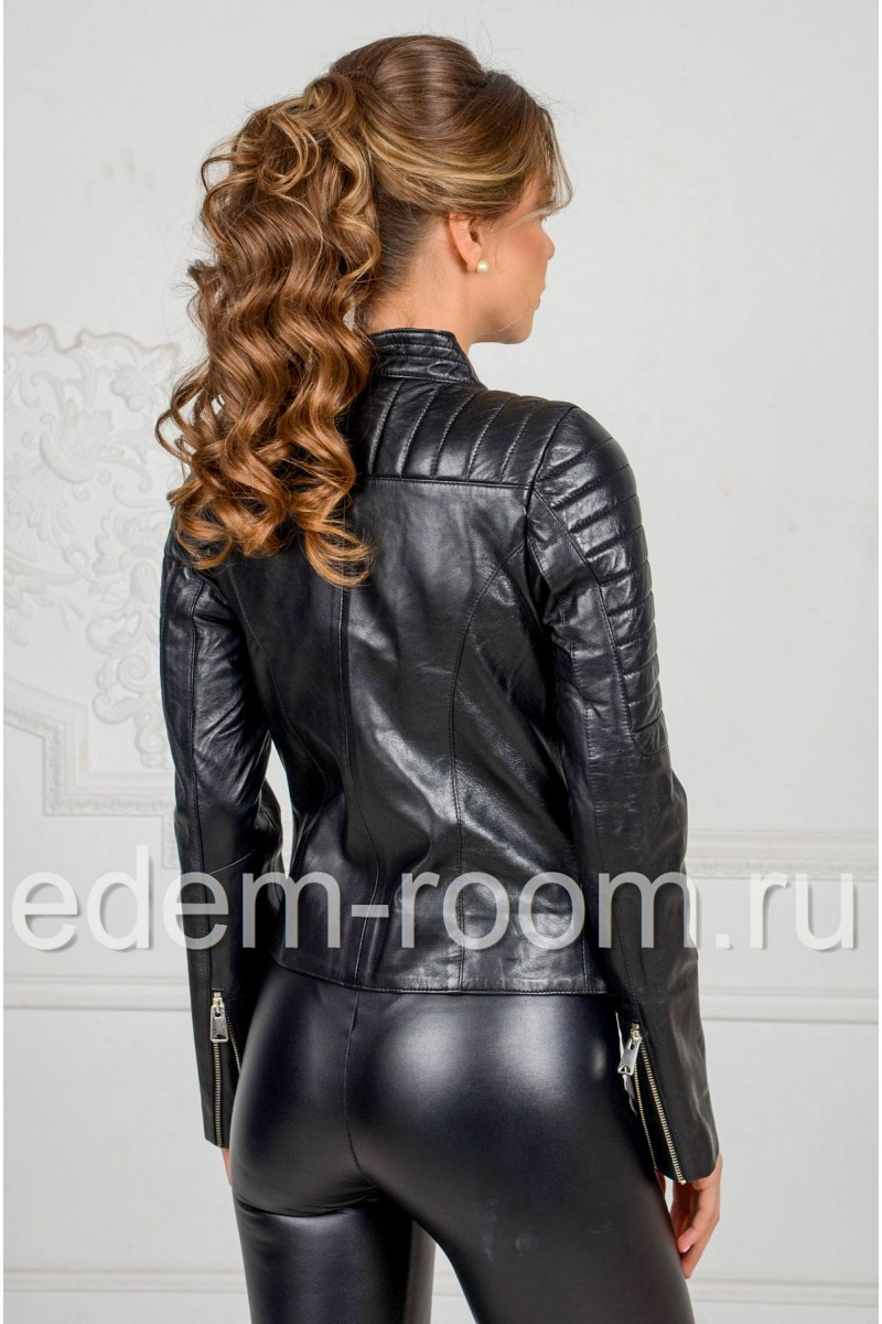 Куртка из чёрной кожи