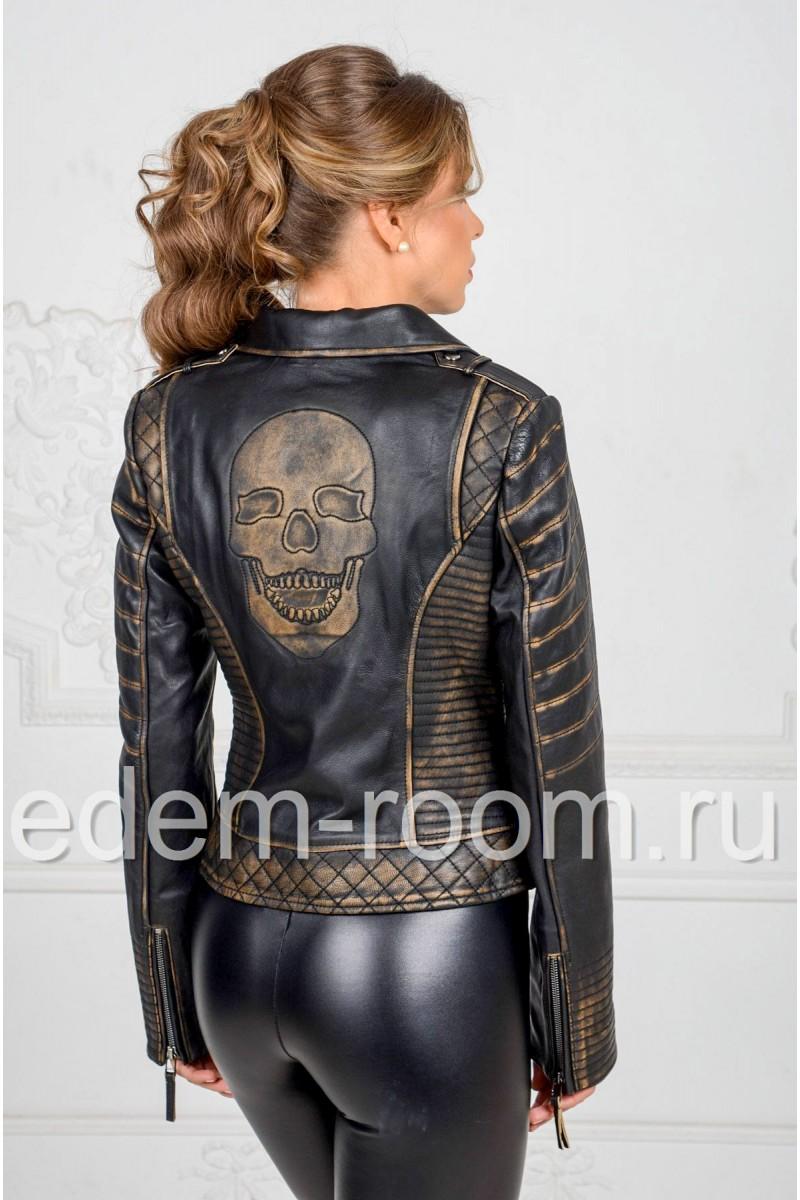 Кожаная куртка с аппликацией на спине