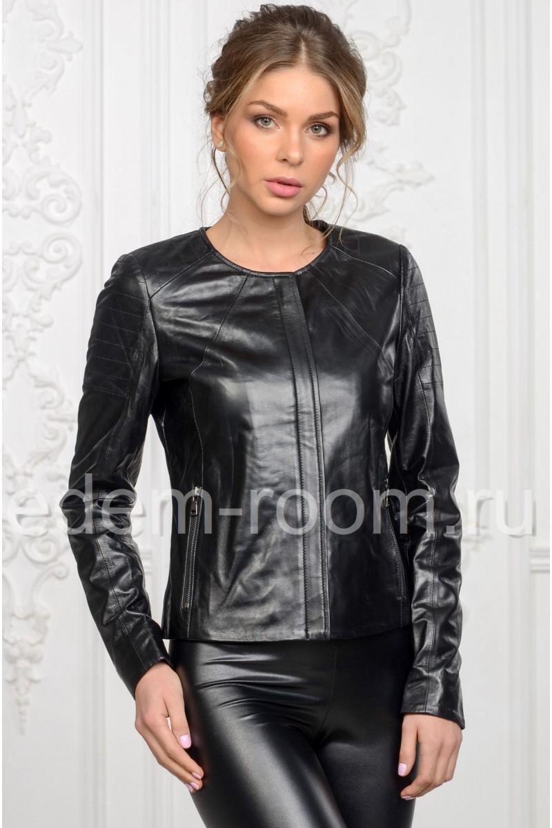 Женская кожаная куртка для весны