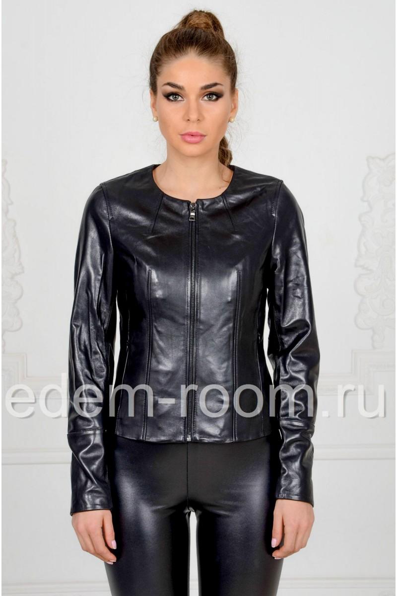 Кожаная куртка с круглым воротником