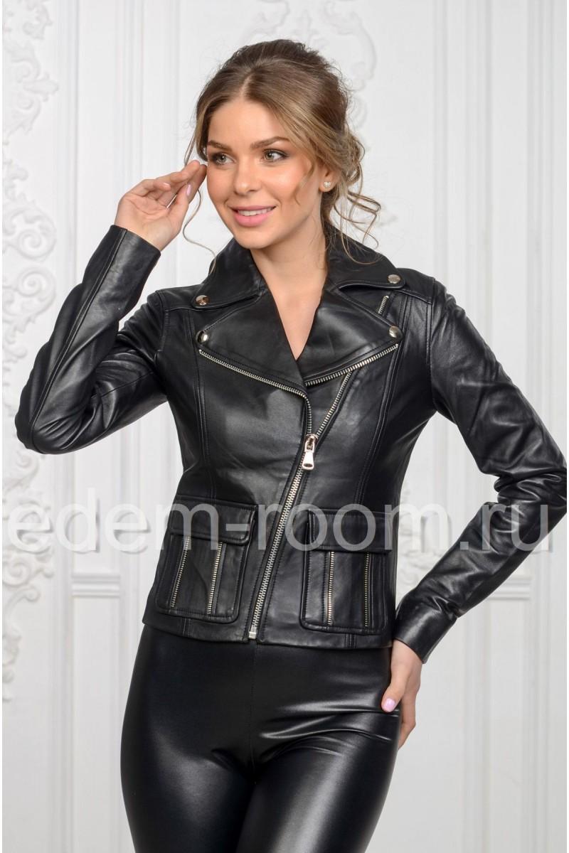 Весенняя кожаная куртка женская - косуха