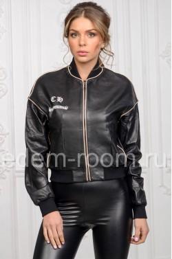 Женская кожаная куртка - бомбер