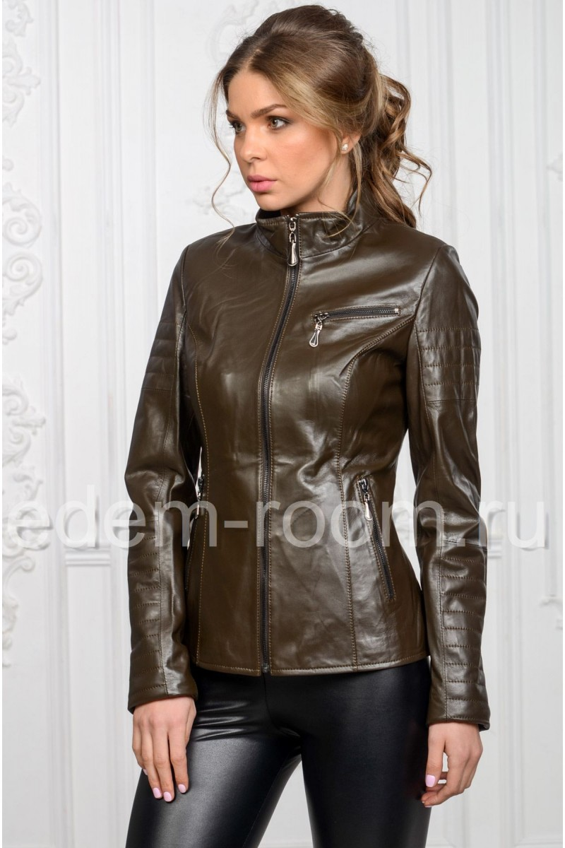 Тёмно-коричневая кожаная куртка