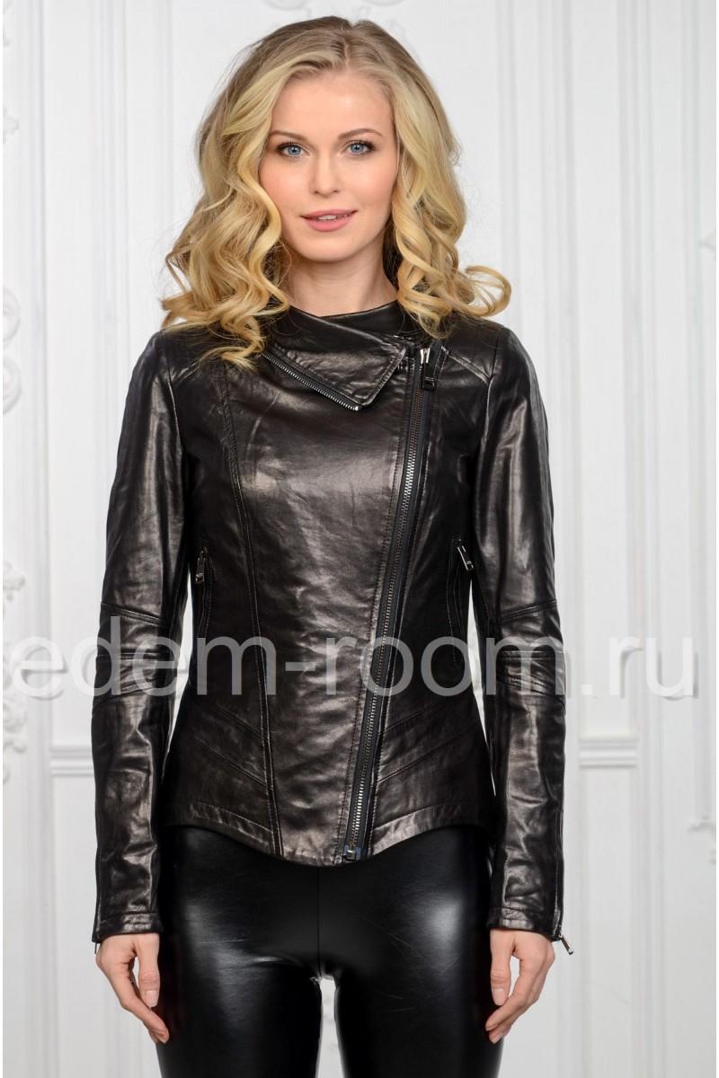 Женская куртка кожаная весенняя на молнии