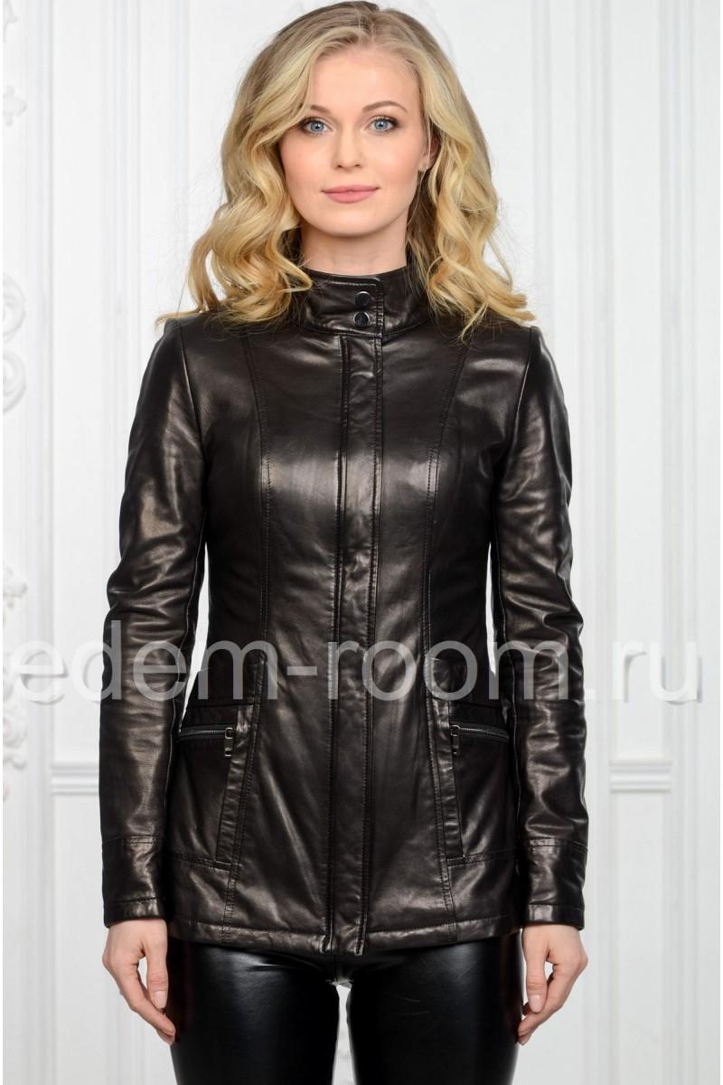 Удлинённая женская кожаная куртка весенняя
