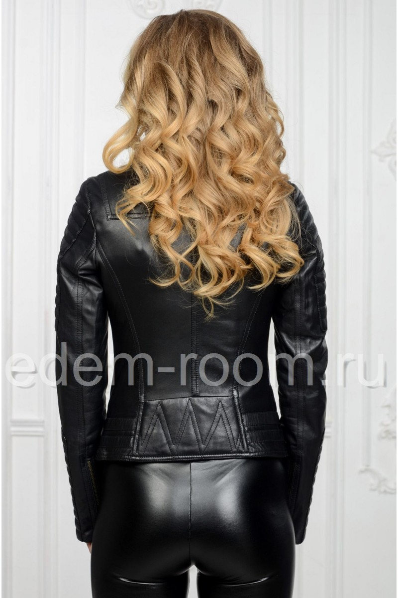 Женская весенняя куртка -косуха из натуральной кожи