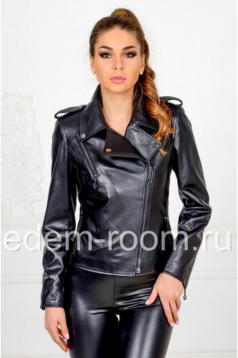 Женская куртка косуха из кожи