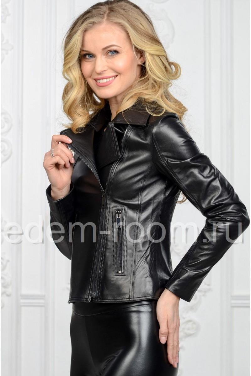 Черная куртка кожаная женская - косуха
