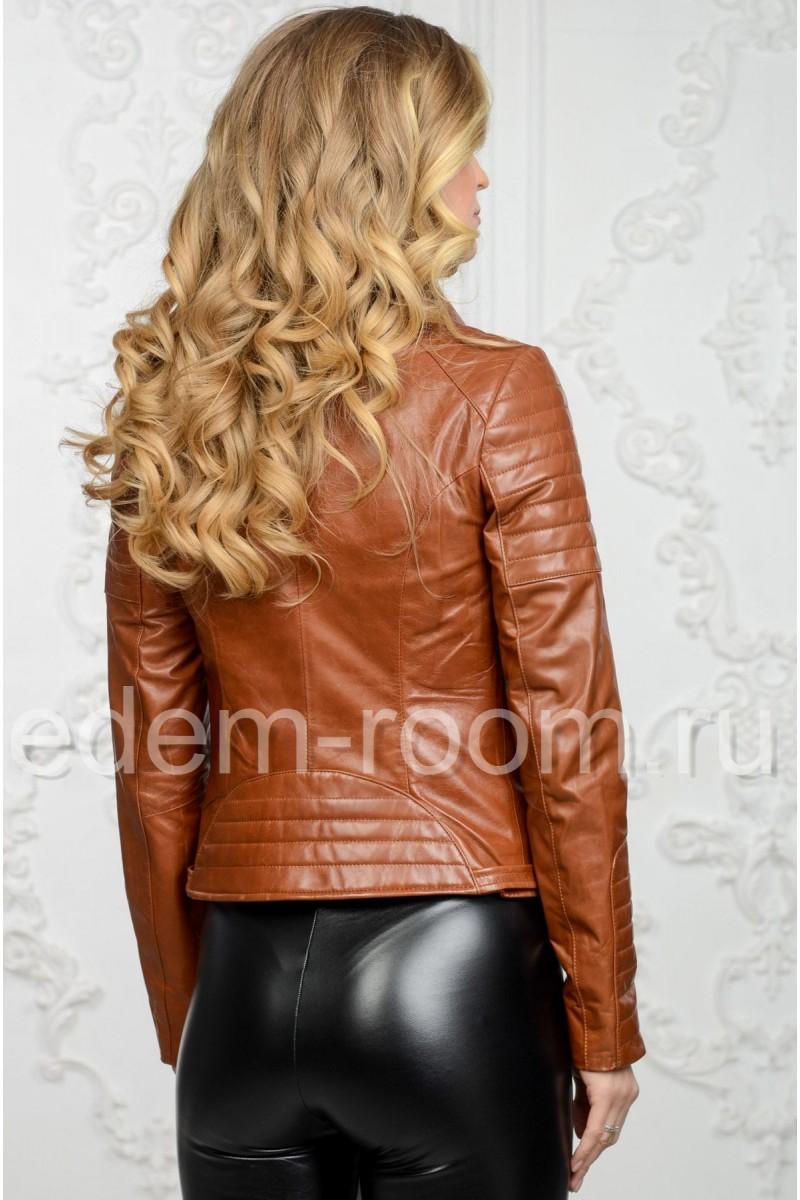 Коричневая женская косуха из натуральной кожи