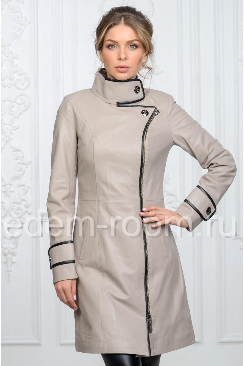 Удобный кожаный плащ серого цвета
