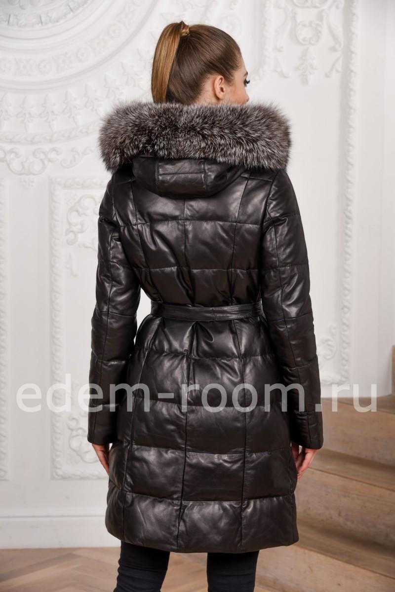 Кожаное пуховое пальто