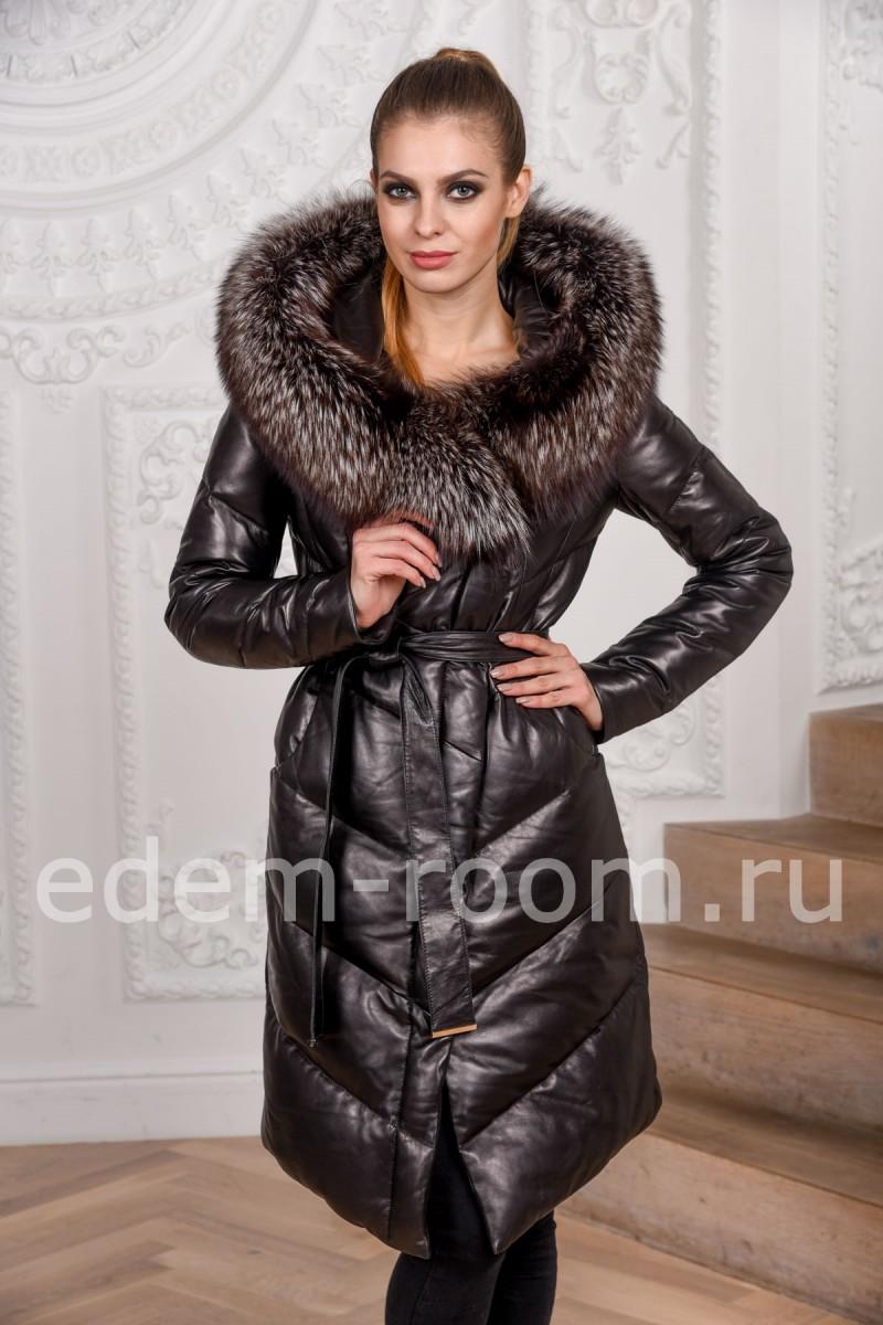 Зимнее кожаное пальто на пуху