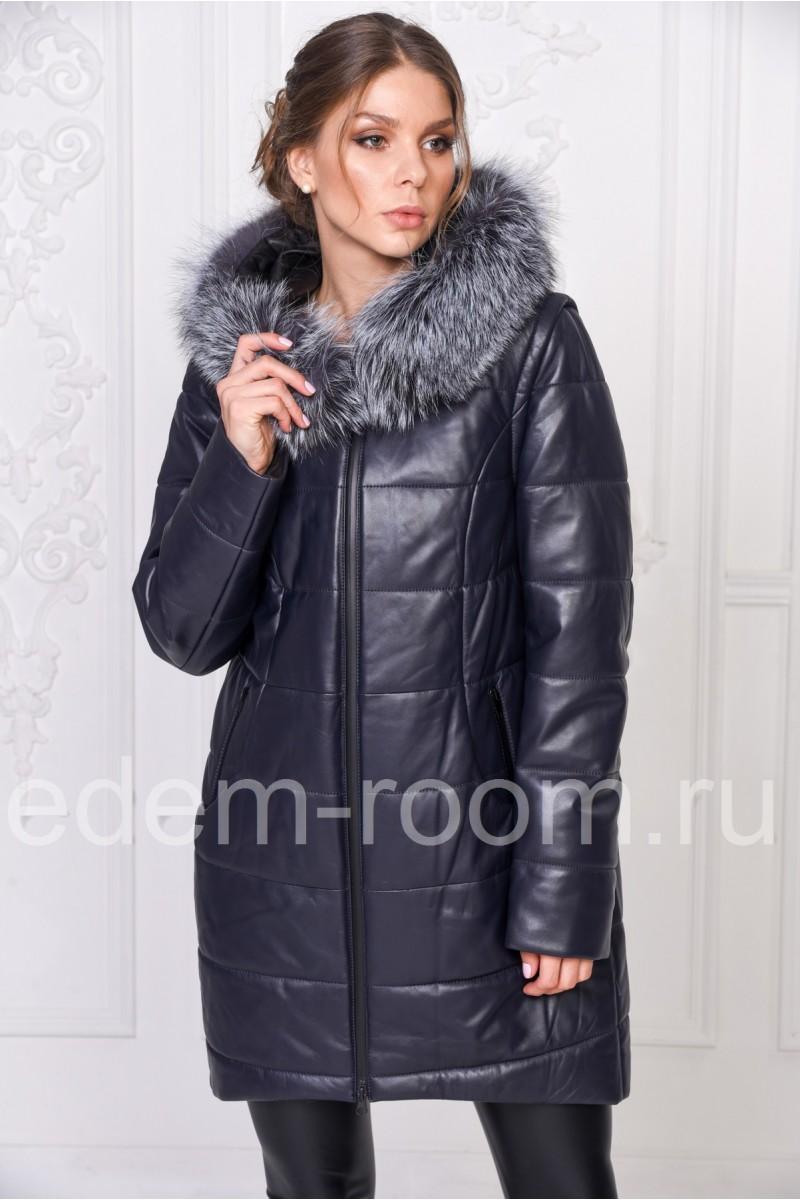 Кожаный пальто с капюшоном