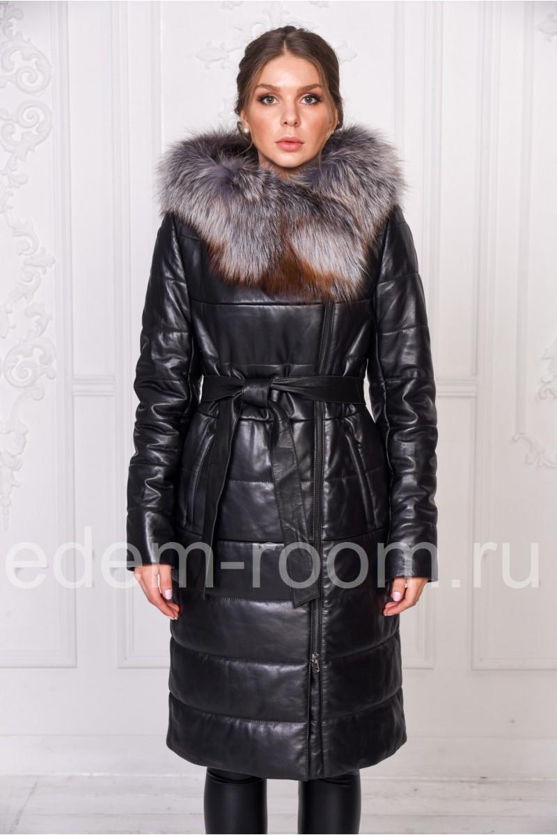 Уютное зимнее пальто из кожи