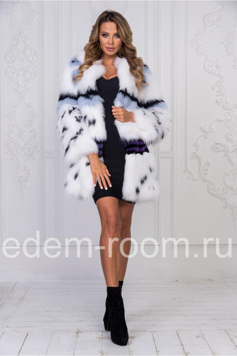 Меховое пальто из вязаной лисы
