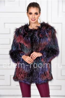 Меховая куртка из вязаной лисы