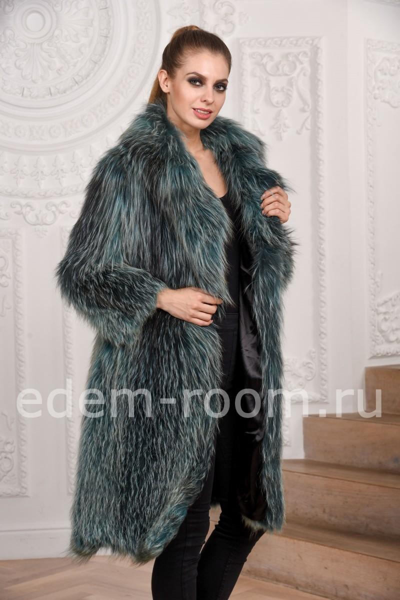 Модное вязаное пальто из меха лисы