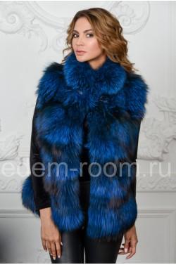 Синий жилет из чернобурой лисы