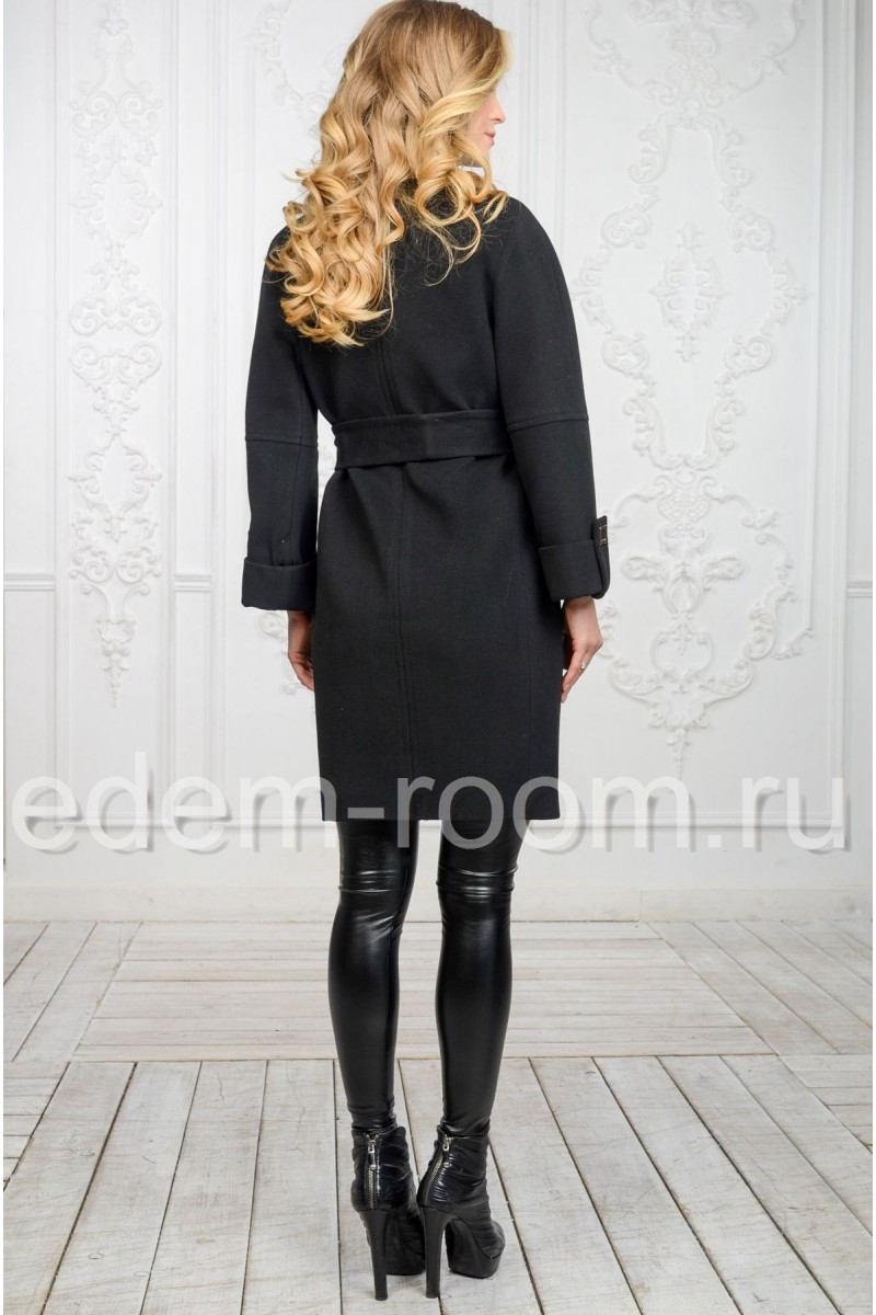 Чёрное пальто из кашемира