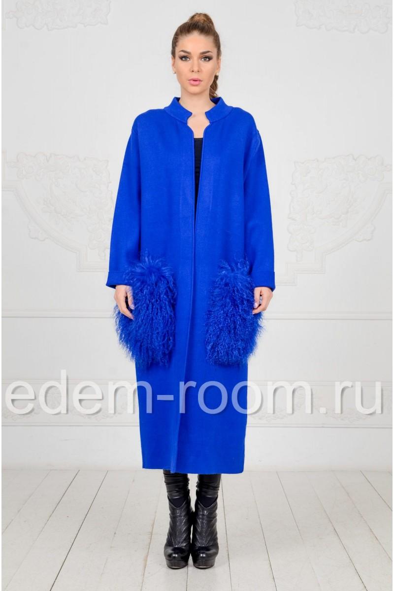 Трикотажное пальто с карманами из ламы