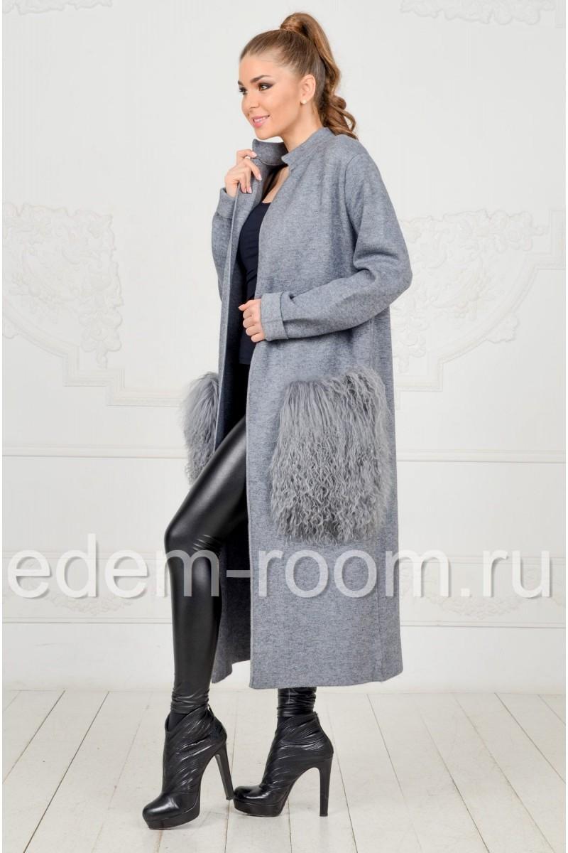 Пальто - кардиган с меховыми карманами