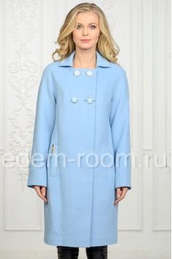 Голубое пальто из кашемира