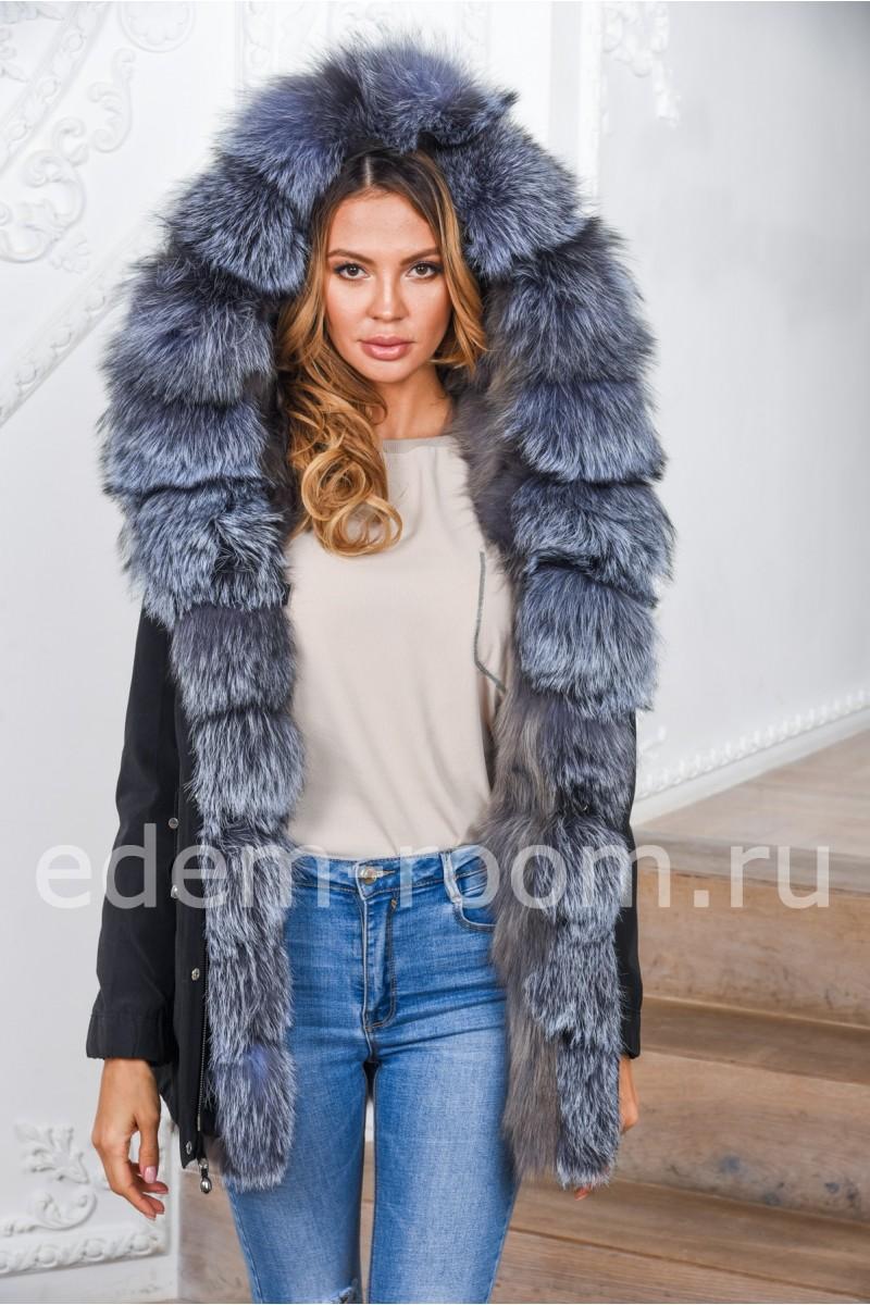 Меховая парка - куртка из меха чернобурой лисы