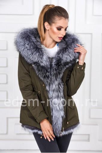 Меховая куртка-парка из чернобурки