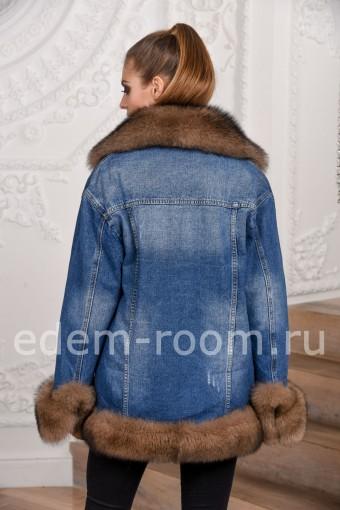 Удлинённая джинсовая куртка с мехом песца