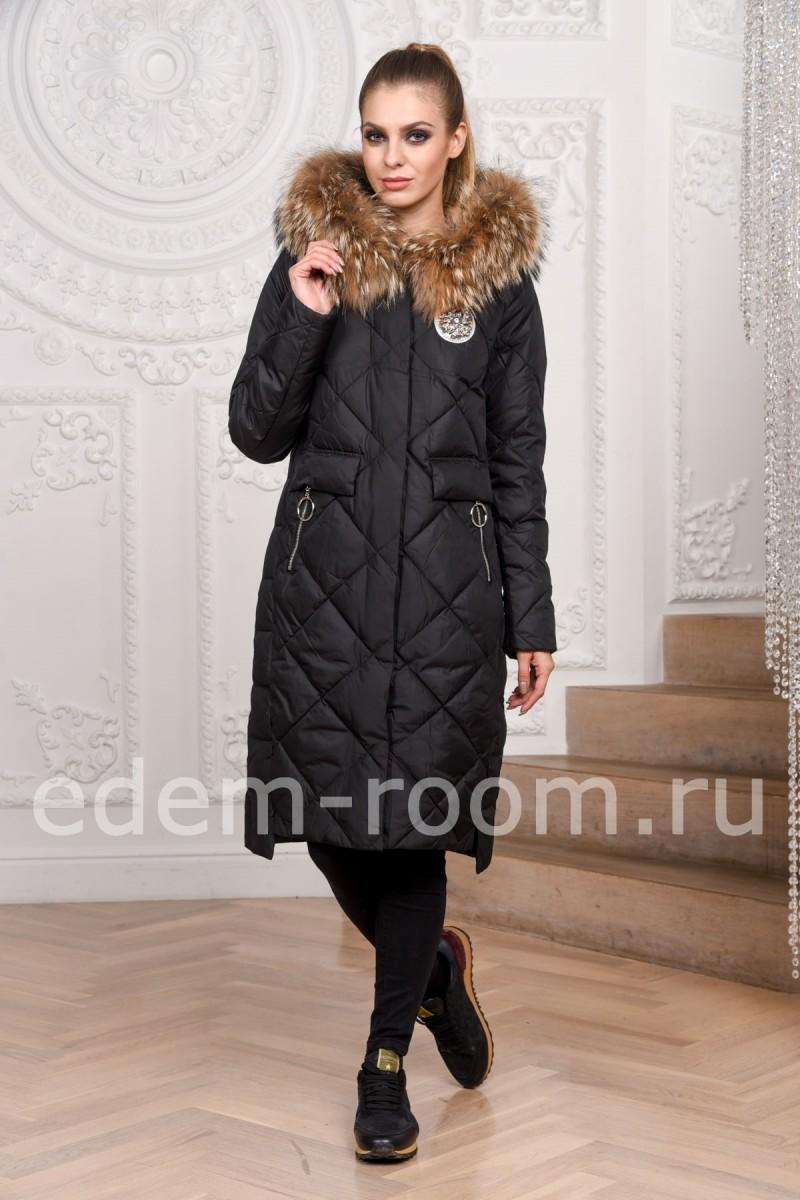 Тканевое пуховое пальто