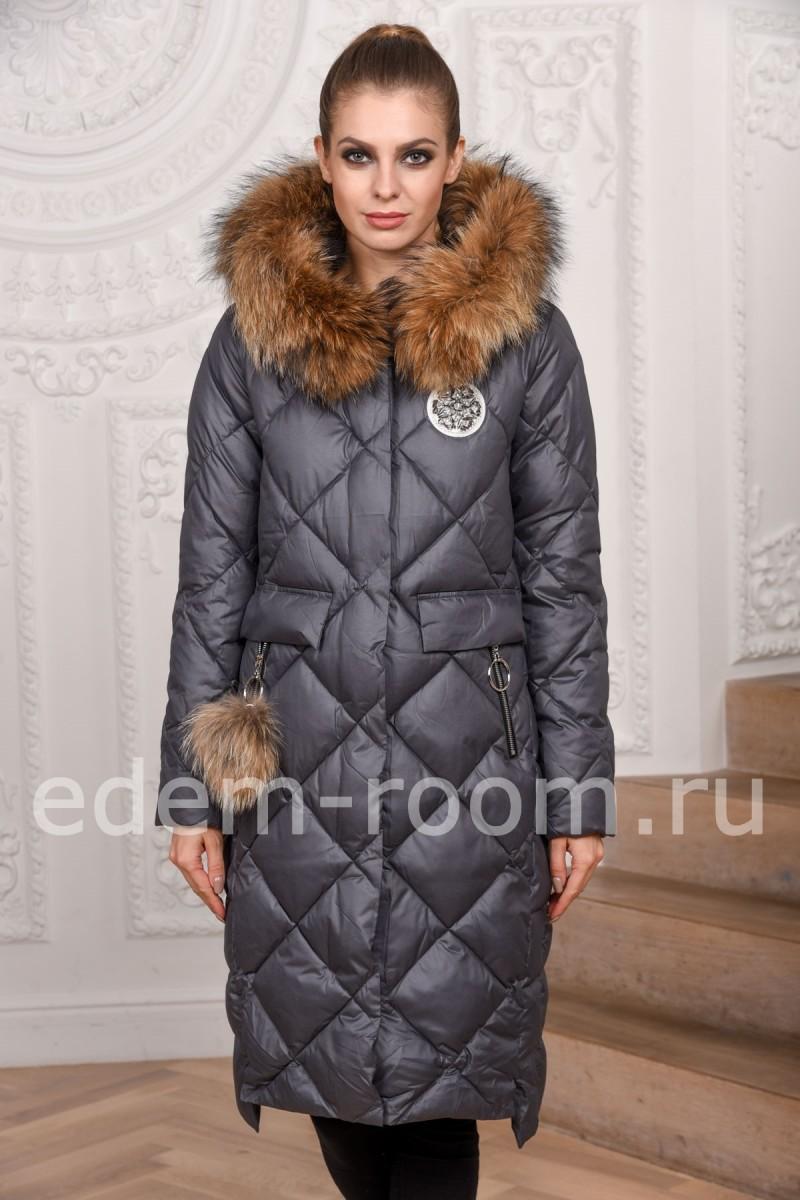 Зимние пуховое пальто с мехом