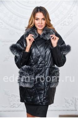Тёплая куртка из искусственной кожи