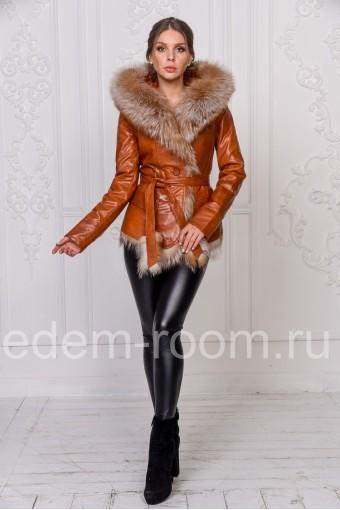 Куртка из эко-кожи и меха лисы