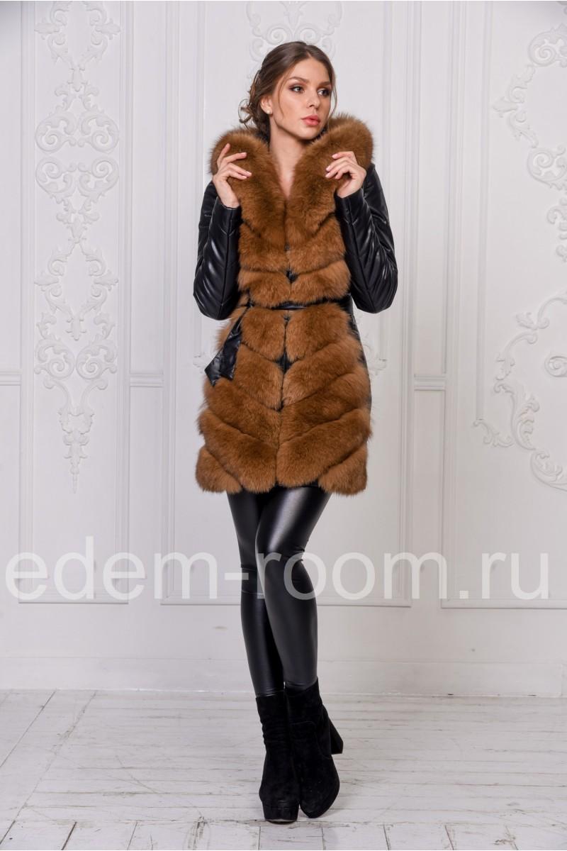 Куртка -жилетка из экокожи и меха песца