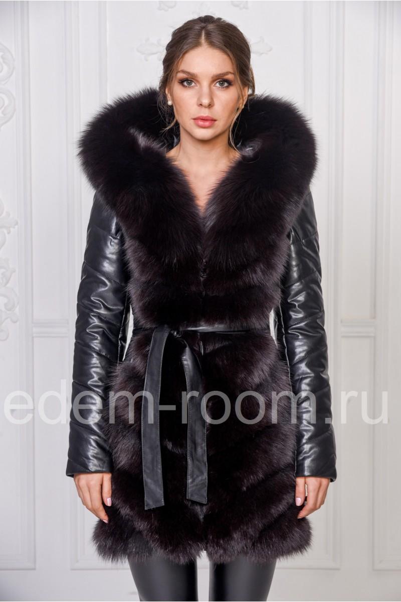 Зимняя куртка из эко-кожи