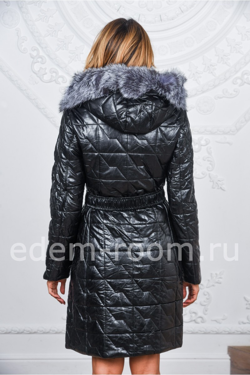 Пальто из экокожи с натуральным мехом