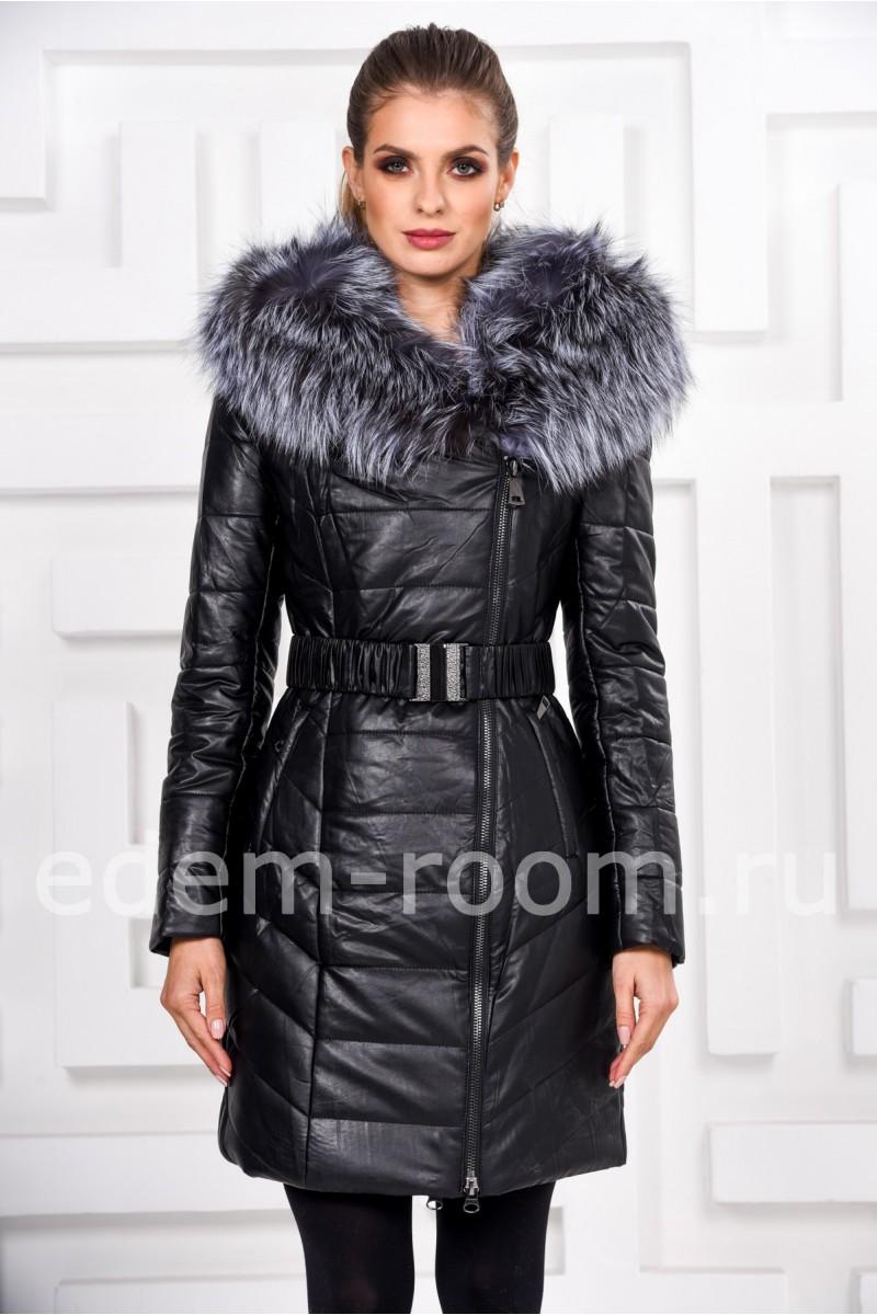 Зимнее пальто из не натуральной кожи