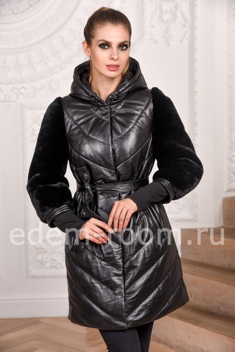 Зимнее пальто из кожи и стриженного мутона