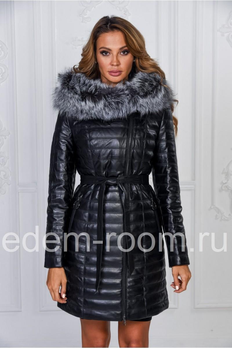 c32fd009d52c Зимнее кожаное пальто с капюшоном