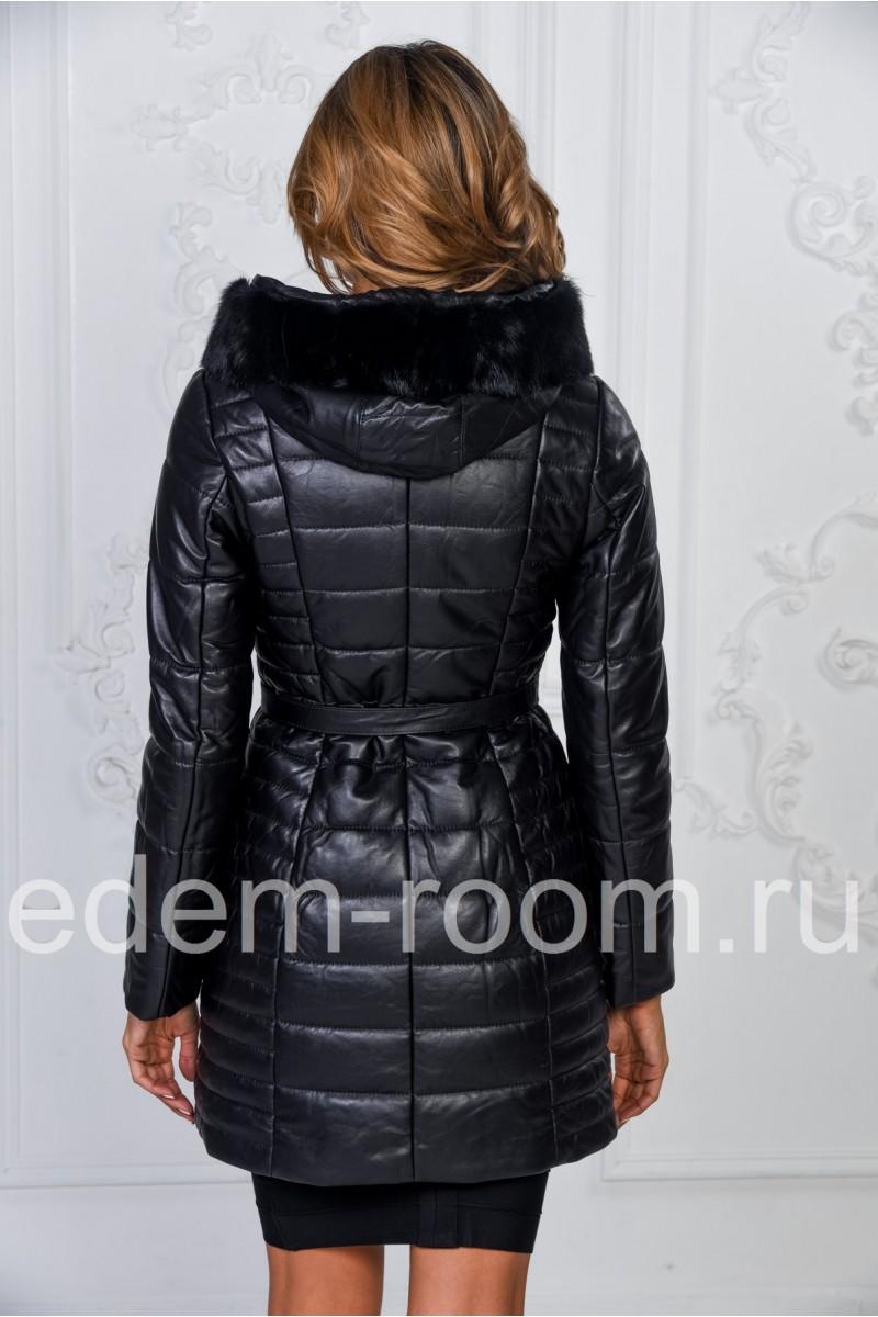 Утеплённое кожаное пальто с капюшоном