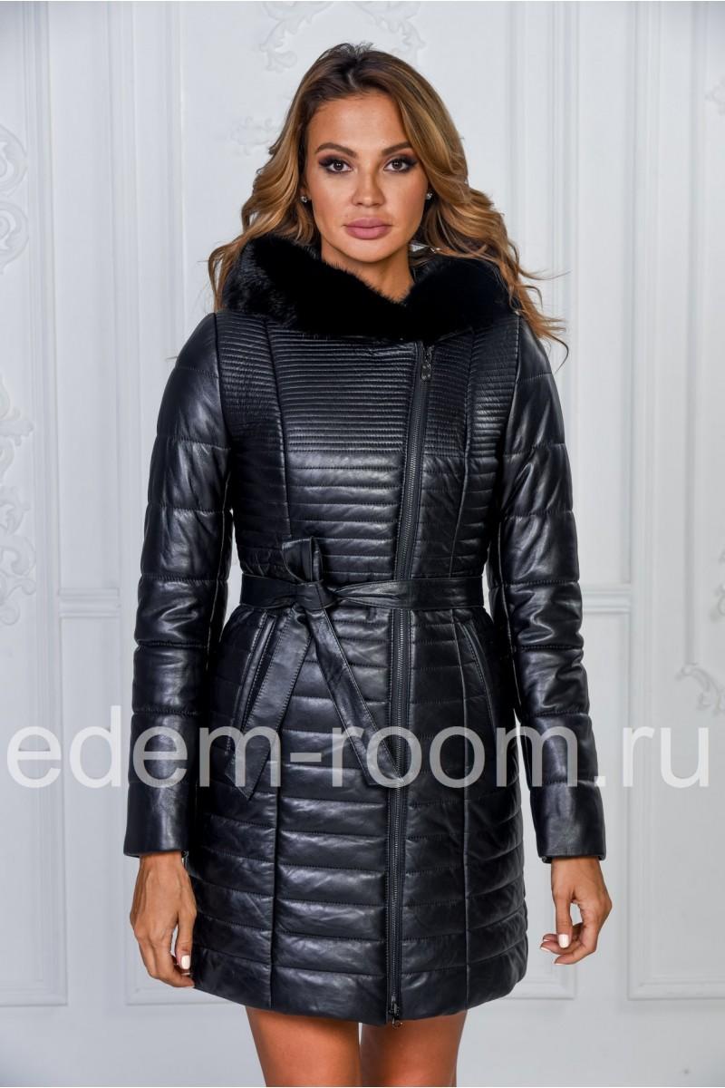 Молодёжное кожаное пальто с капюшоном