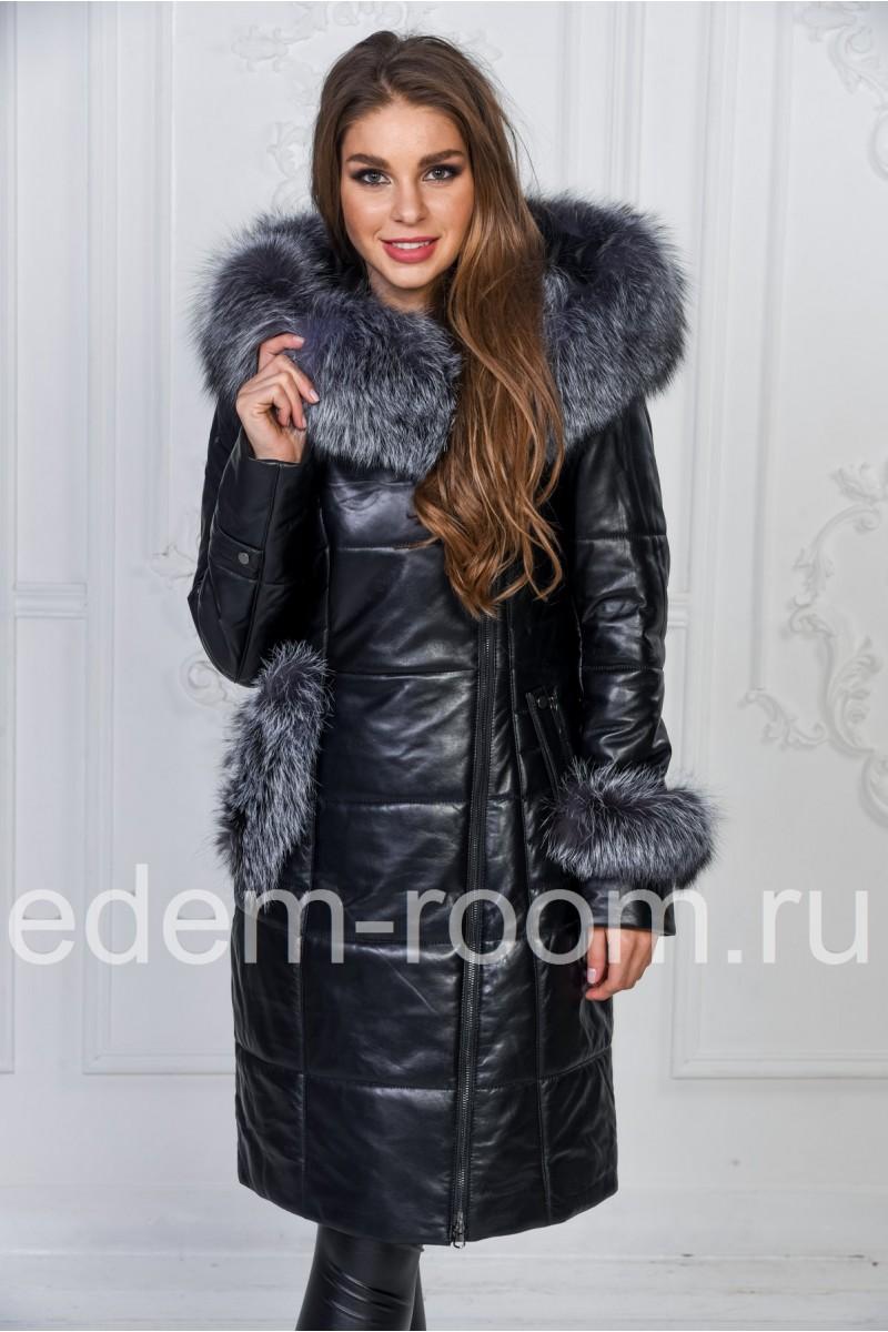 8062ba8733b7 Женское зимнее кожаное пальто с мехом